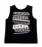 Black And Grey Neoprene Ribbon Patch Tank Top - 4.12
