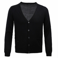 Black Bee Embroidered Wool Cardigan