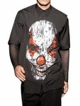 Black Clown Printed Poplin Shirt