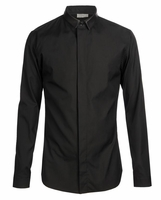 Black Cotton Shirt with Leather Collar