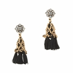 Black Crystal Tassel Earrings