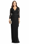Black Dvf Julianna Lace Long Wrap Dress