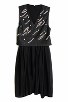 Black Embellished Jacquard Top Silk Dress