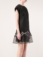 Black Embroidered Geode Flounce Dress