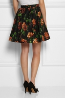 Black Floralprint Silkfaille Mini Skirt