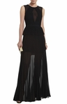 Black Karolina Sleeveless Pleated Gown