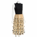 Black Kir Modern Mid Length Zebra Nude Dress