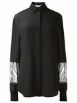 Black Lace Sleeve Silk Shirt