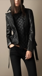 Black Leather Detail Quilted Jacket