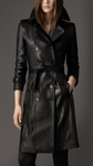 Black Long Lambskin Biker Trench Coat