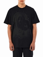 Black Madonna Print Star Embellished T-Shirt