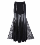 Black Magic Chiffon Laced Maxi Skirt