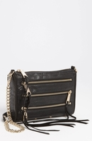 Black Mini 5-Zip Shoulder Bag