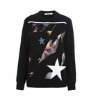Black Printed Cotton Fleece Sweatshirt