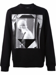 Black Rubber Printed Cotton Fleece Sweatshirt