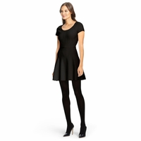 DVF Black Shea Knit Fit And Flare Dress