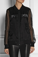 Black Sheer Organza Bomber with Leather Pocket