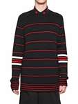Black Striped Wool Knit Sweater