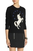 Black Unicornintarsia Wool Sweater