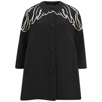 Black Wings Embroidered Wool Coat