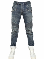 Blue 18cm Painted Denim Biker Jeans