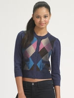 Blue Argyle Cropped Cardigan (Final Sale)