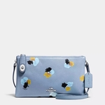 Blue Crosby Floral-print Leather Crossbody Bag