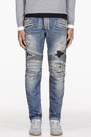 Blue Destroyed Biker Jeans