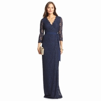 Blue Dvf Julianna Lace Long Wrap Dress
