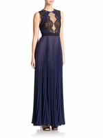 Blue Lace-Top Pleated Gown