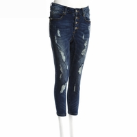 Blue Midrise Cropped Destroyed Jean