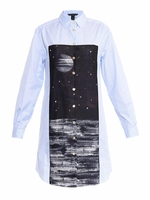 Blue Stripe And Space-Print Shirt Tunic