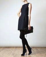 Blue Structured Brushed Wool Dress