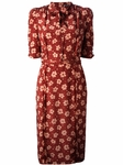 Red Floral Button Dress