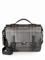 Black And Brown 'Smoked Check' Convertible Messenger Bag