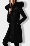 Black Fur Trim Fitted Duffle Coat