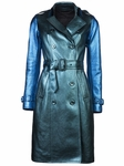 Blue Metallic Texturedleather Trench Coat
