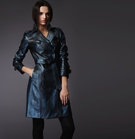 Blue Sneak-Skin PU Leather Trench Coat