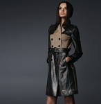 Leather Patched Trench Coat