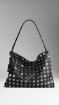 MEDIUM METAL EYELET HOBO BAG