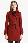 Midlength Wool Blend Trench Coat