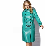 Blue Bonded Leather Trenchcoat