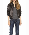 BY MALENE BIRGER BLACK LEATHER BOMBER JACKET