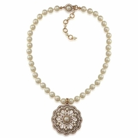 The Mandy Floral Crystal and Pearl Pendant Necklace