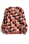 Orange Multicolored Geometric Jacquard Knit Sweater (On Sale)