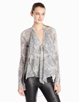 CASCADE DRAPED-FRONT BLOUSE