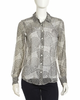 Equipment Gray Sophie Print Silk Blouse