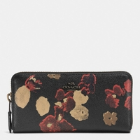 ACCORDION zip wallet in floral print leather