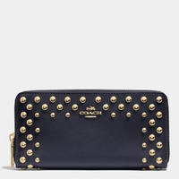 COACH ACCORDION ZIP WALLET IN STUDDED CROSSGRAIN LEATHER