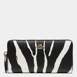 Black Accordion Zip Wallet in Zebra Embossed Leather